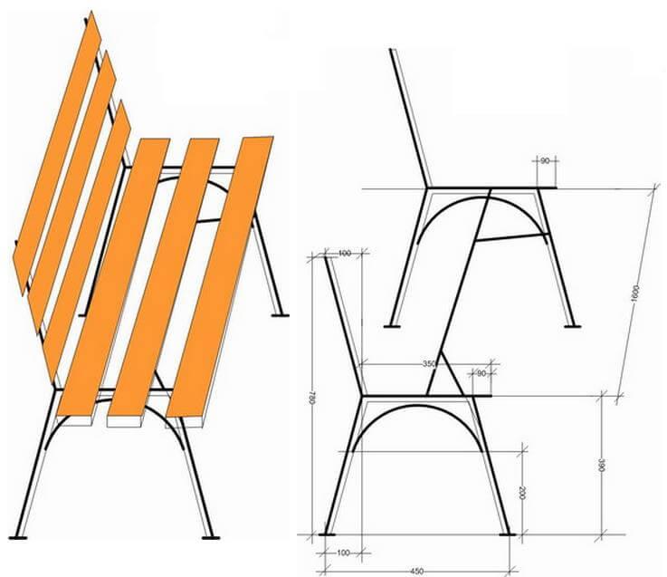Садовые скамейки из металла чертежи и размеры и фото