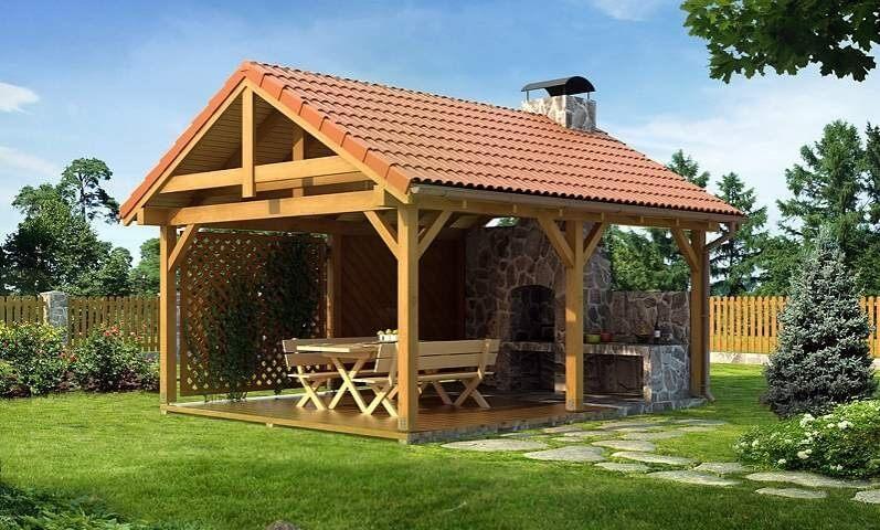Беседука с двухскатной крышей