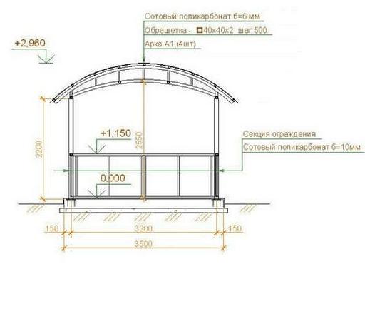 схема с крышей из поликарбоната