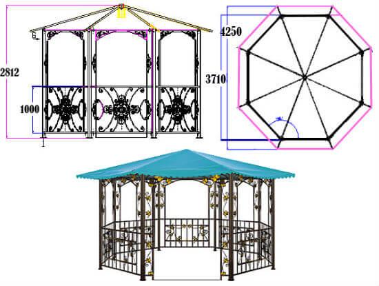 Схема восьмигранной конструкции
