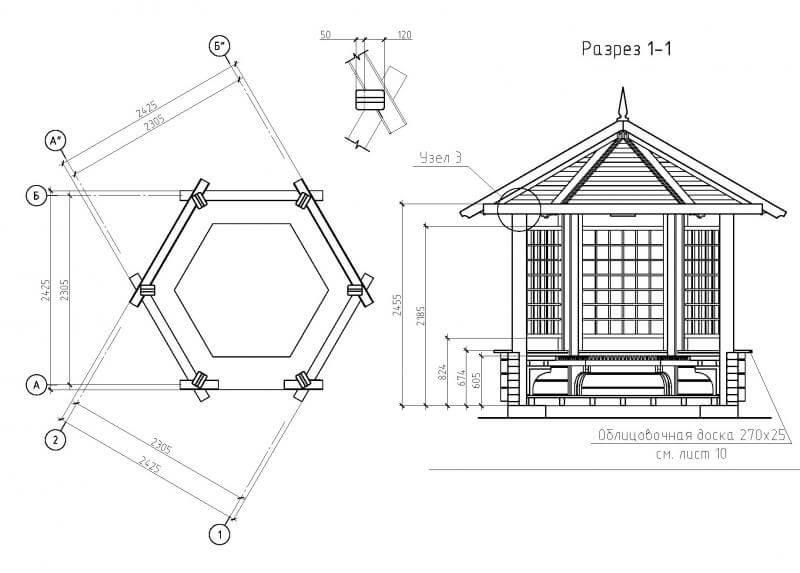 Схема деревянной беседки с решетчатой стеной